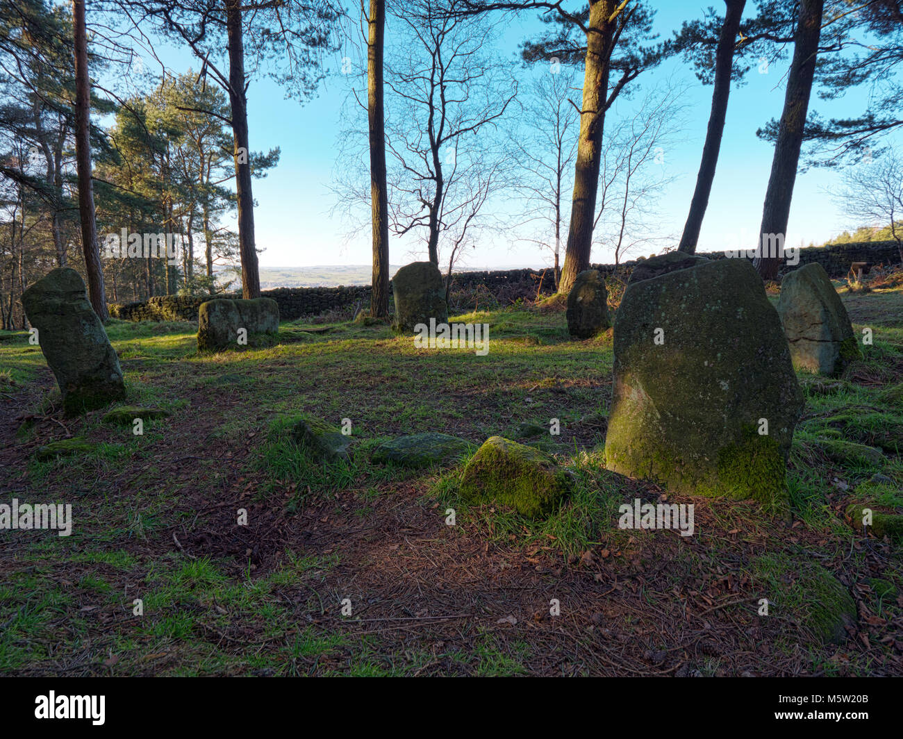 Doll Tor Bronze Age Stone Circle, six standing stones & a cairn, near Stanton Moor Peak, Peak District National - Stock Image