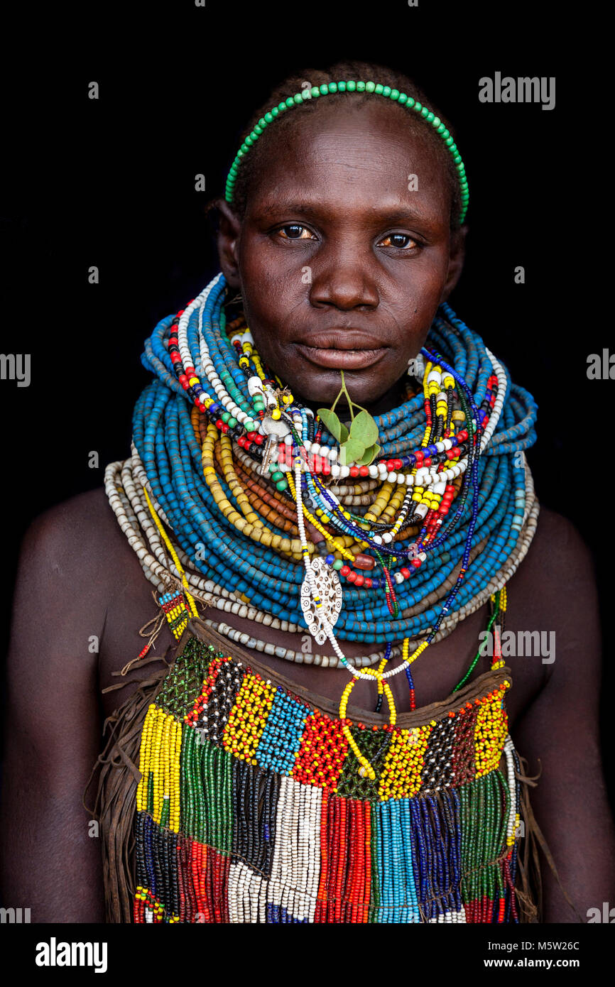 A Portrait Of A Woman From The Nyangatom Tribe, Lower Omo Valley, Ethiopia Stock Photo