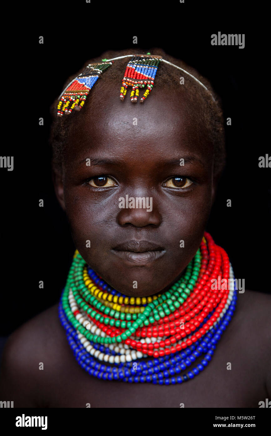 A Portrait Of A Girl From The Nyangatom Tribe, Lower Omo Valley, Ethiopia Stock Photo