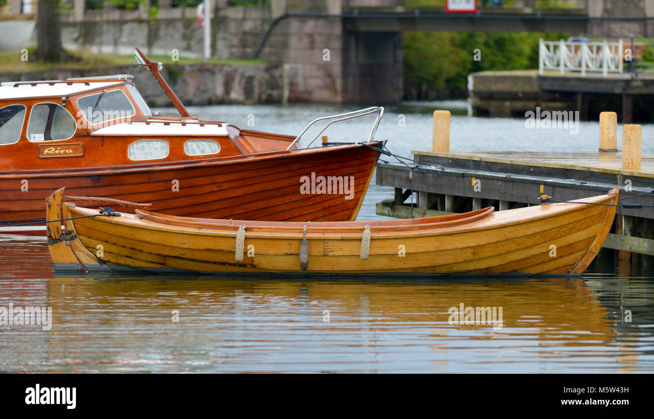Wooden boat´s in the inner harbour in Västervik Sweden, the society of traditional wooden boats´s - Stock Image