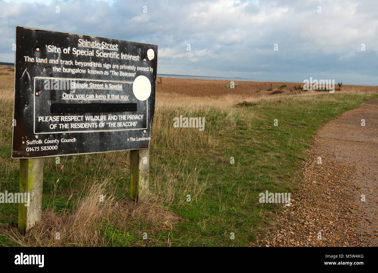 Shingle Street, site of special scientific interest (SSSI) Suffolk England - Stock Image