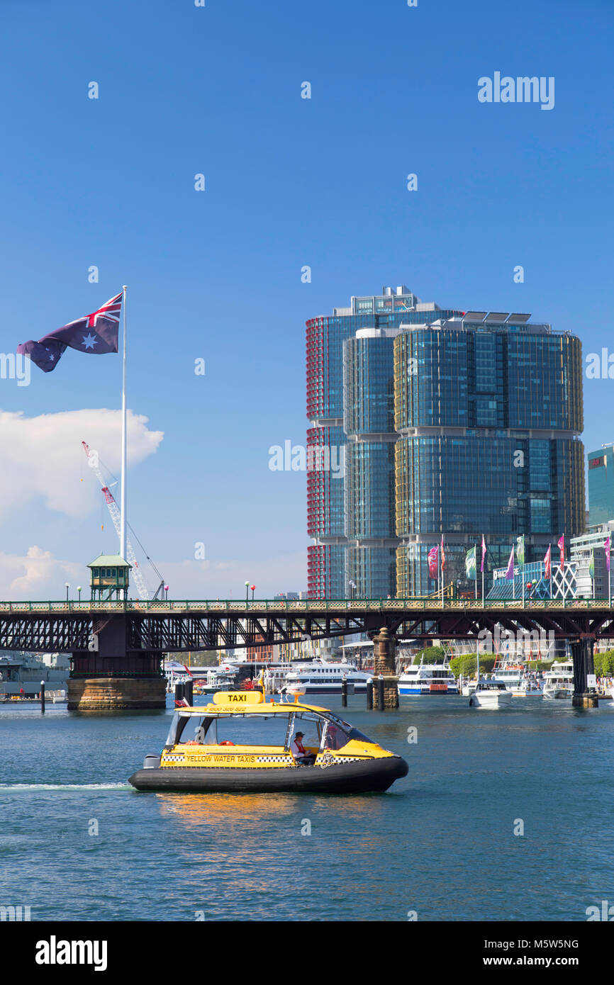 Water taxi in Darling Harbour, Sydney, New South Wales, Australia - Stock Image
