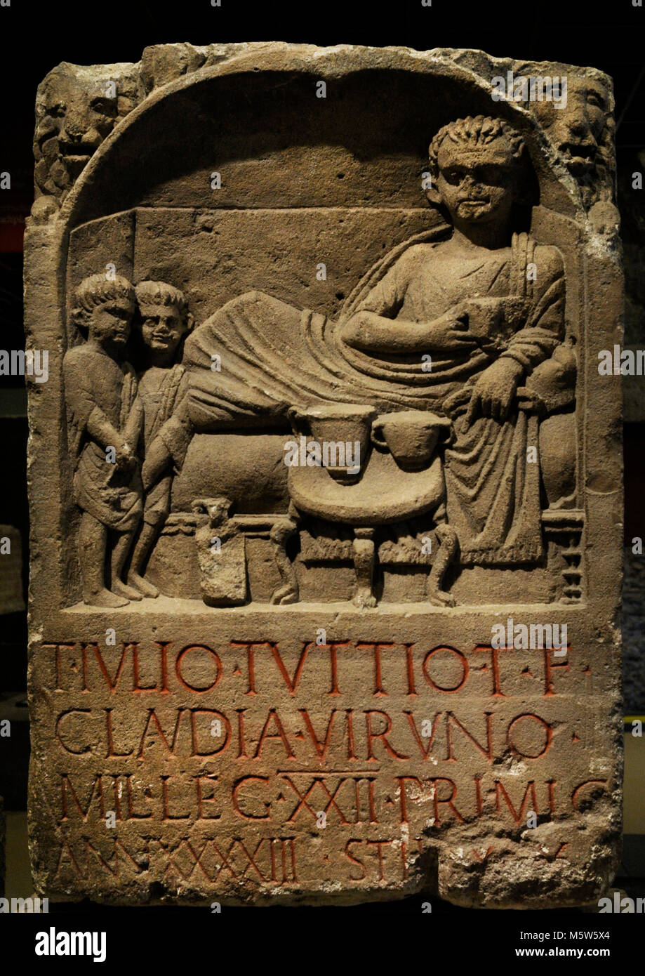Funerary stele of the Roman legionary Julius Tuttius, soldier of the Primigenia Legion, who died at 43 years old. - Stock Image