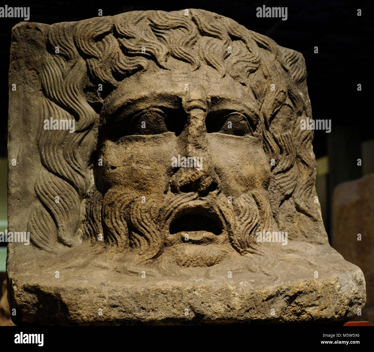 Mask of a River God depicted as an old man. Found in Cologne, Germany. Roman-Germanic Museum. Cologne. Germany. - Stock Image