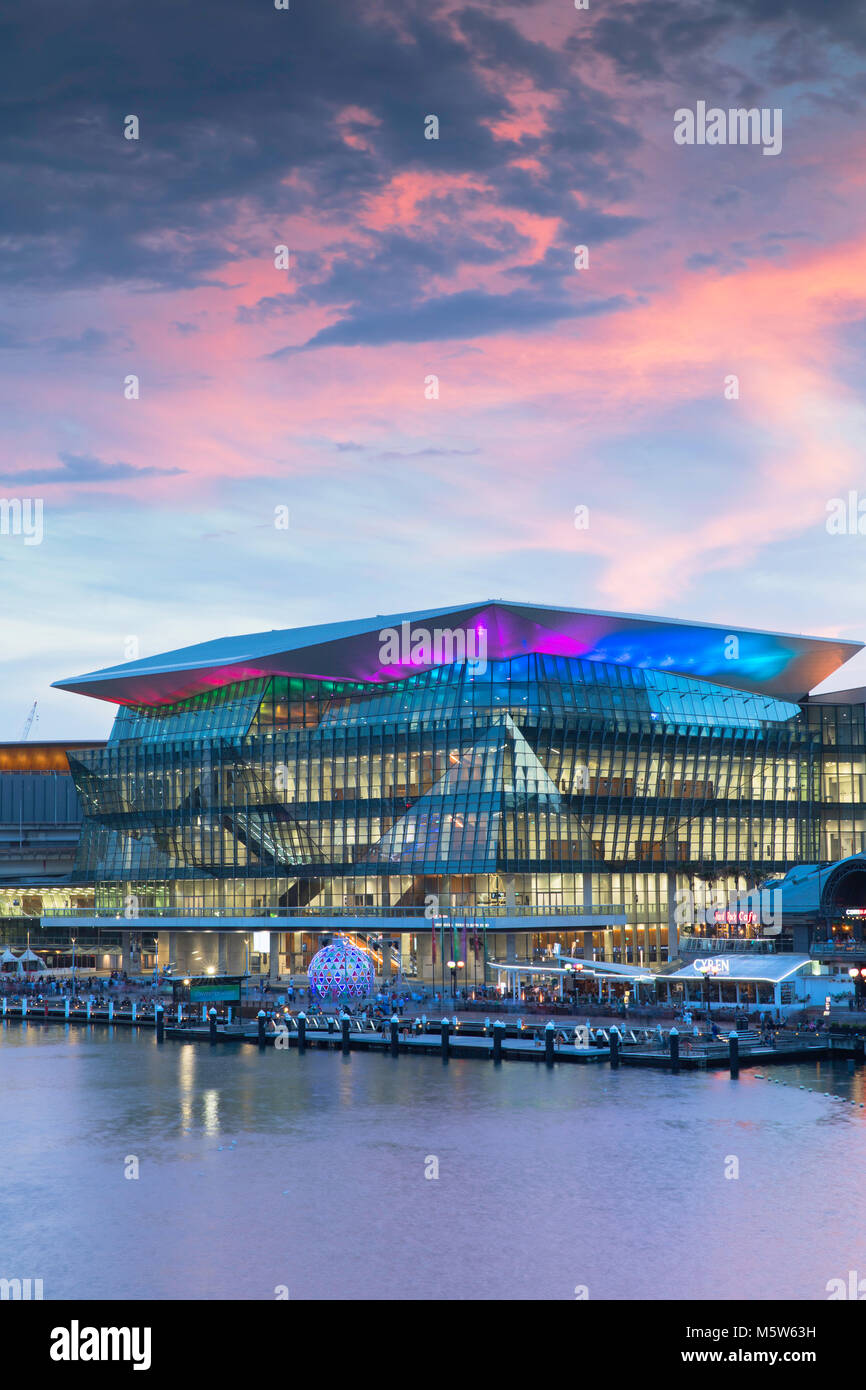 International Convention Centre at sunset, Darling Harbour, Sydney, New South Wales, Australia - Stock Image