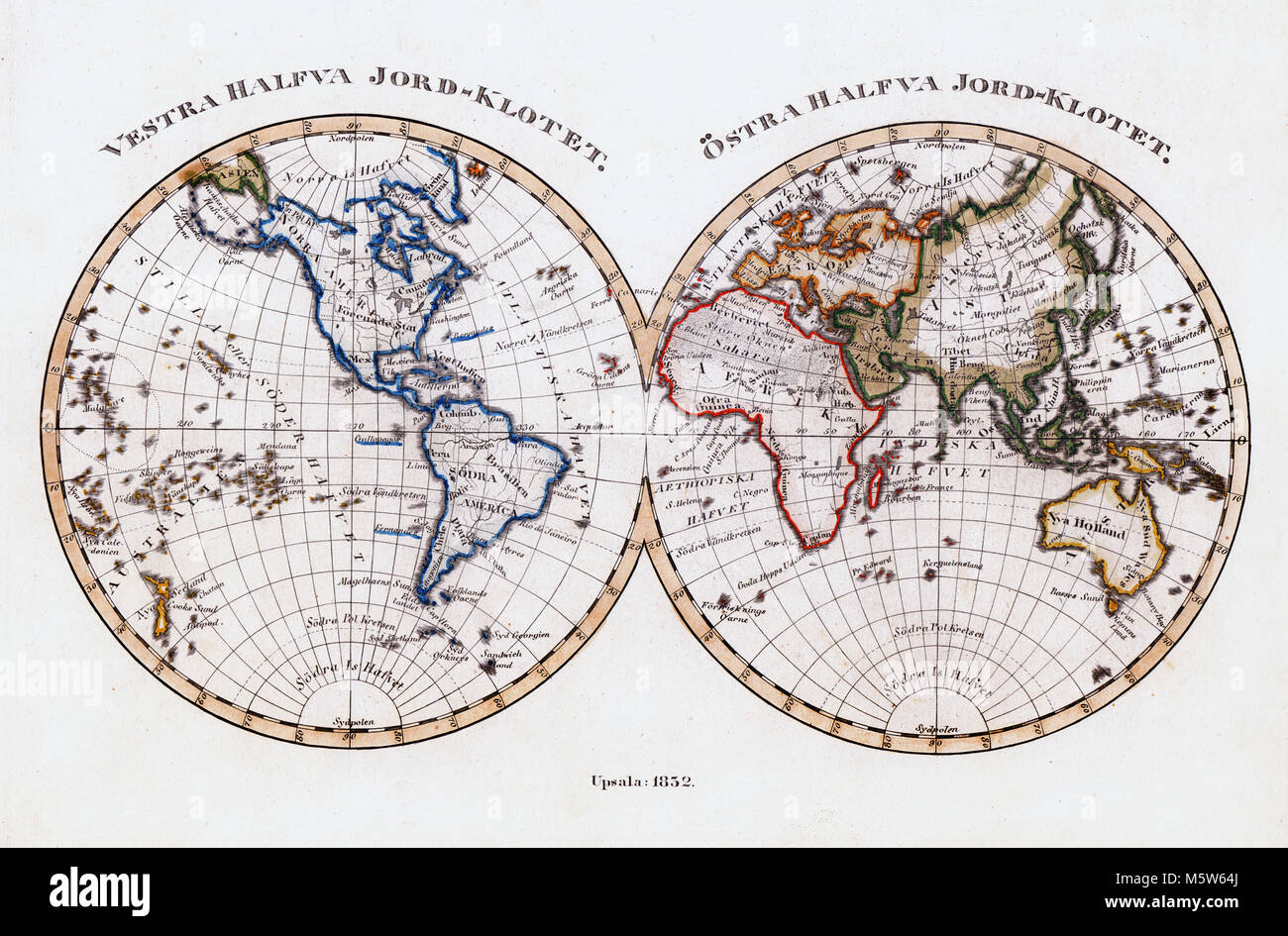Australia And America Map.1844 Stieler Map World In Hemispheres Europe Africa Asia Stock