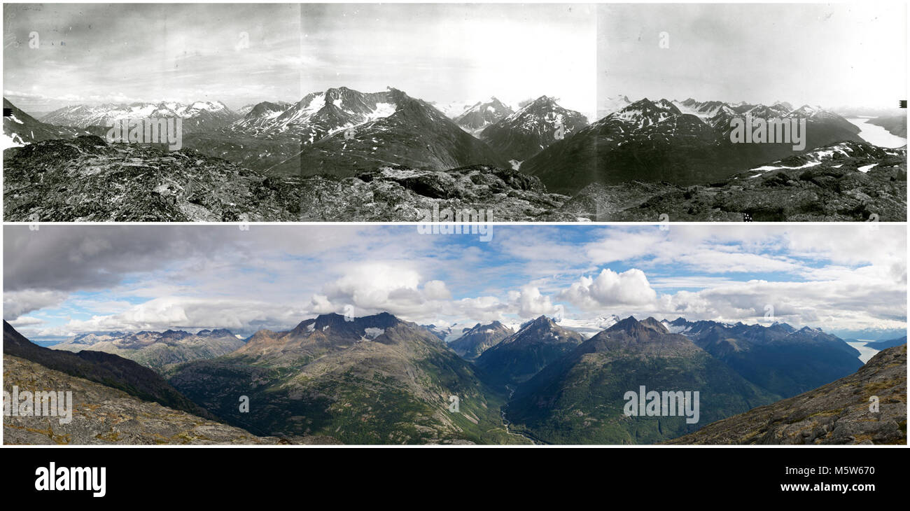View east from AB Mountain, Skagway, AK . Photo pair shows glacial thinning and retreat. View east towards East - Stock Image