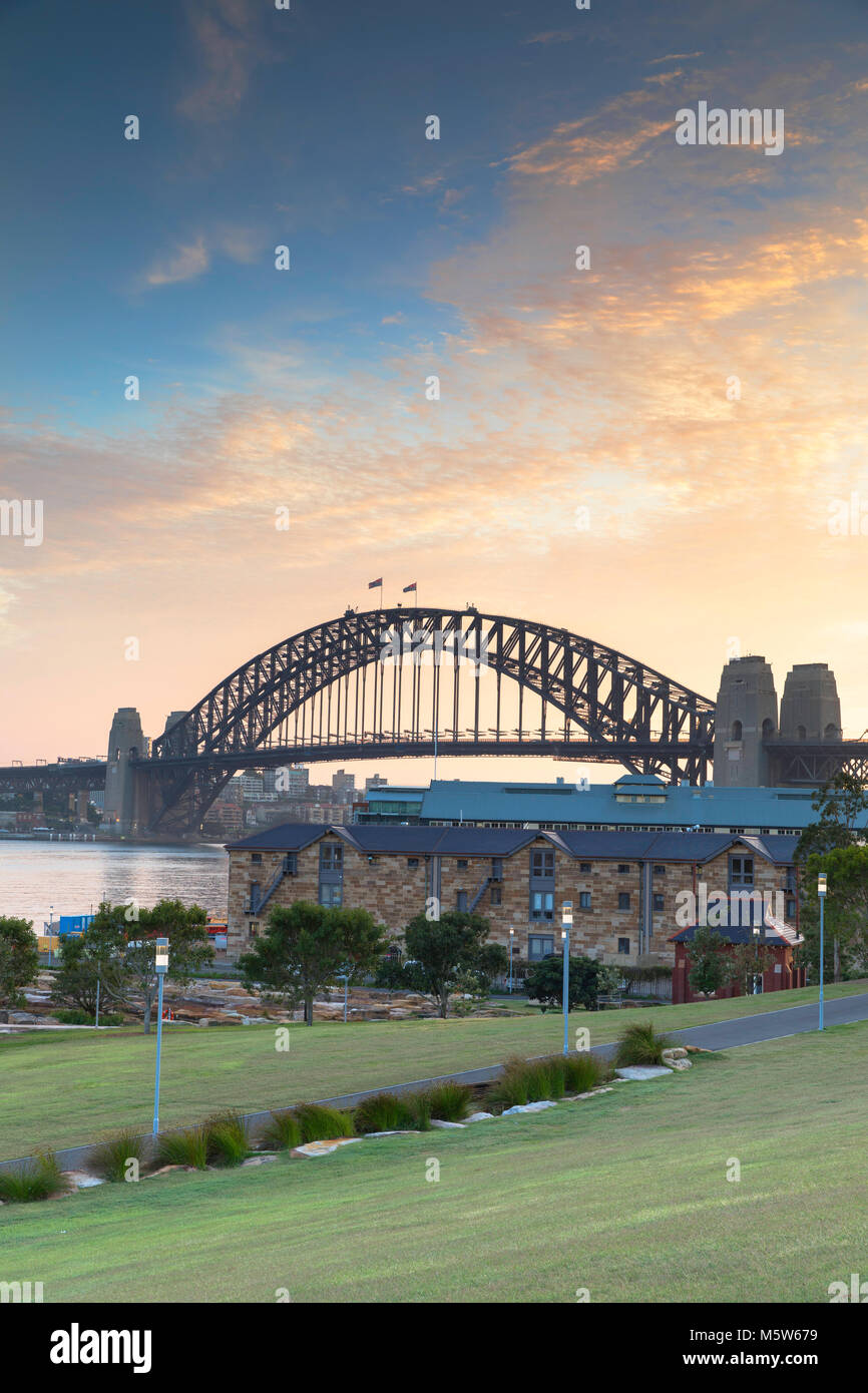Sydney Harbour Bridge from Barangaroo Reserve at sunrise, Sydney, New South Wales, Australia - Stock Image