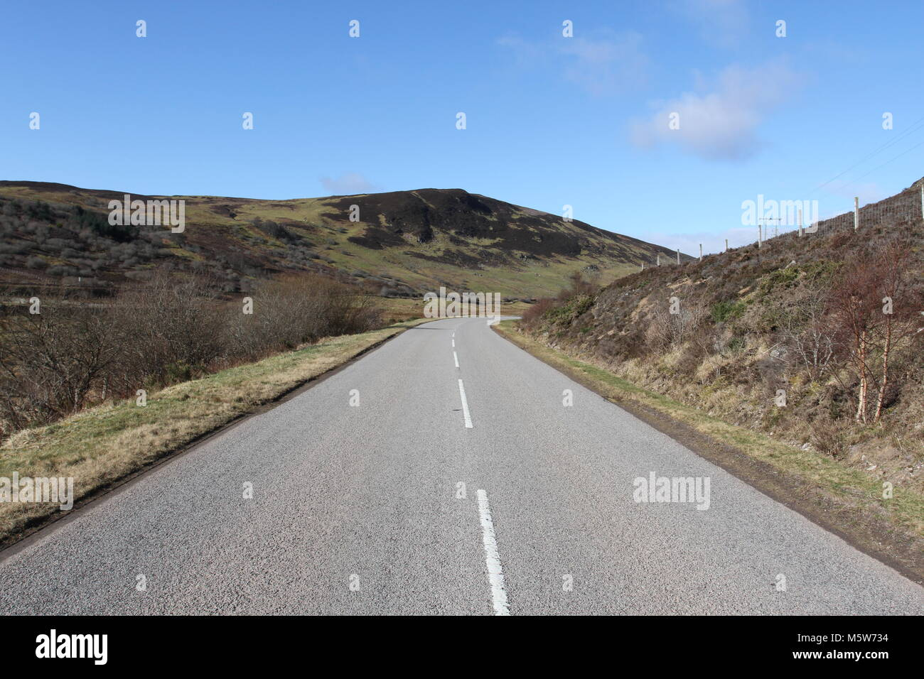 A839 between Rogart and Lairg Caithness Scotland March 2012 - Stock Image