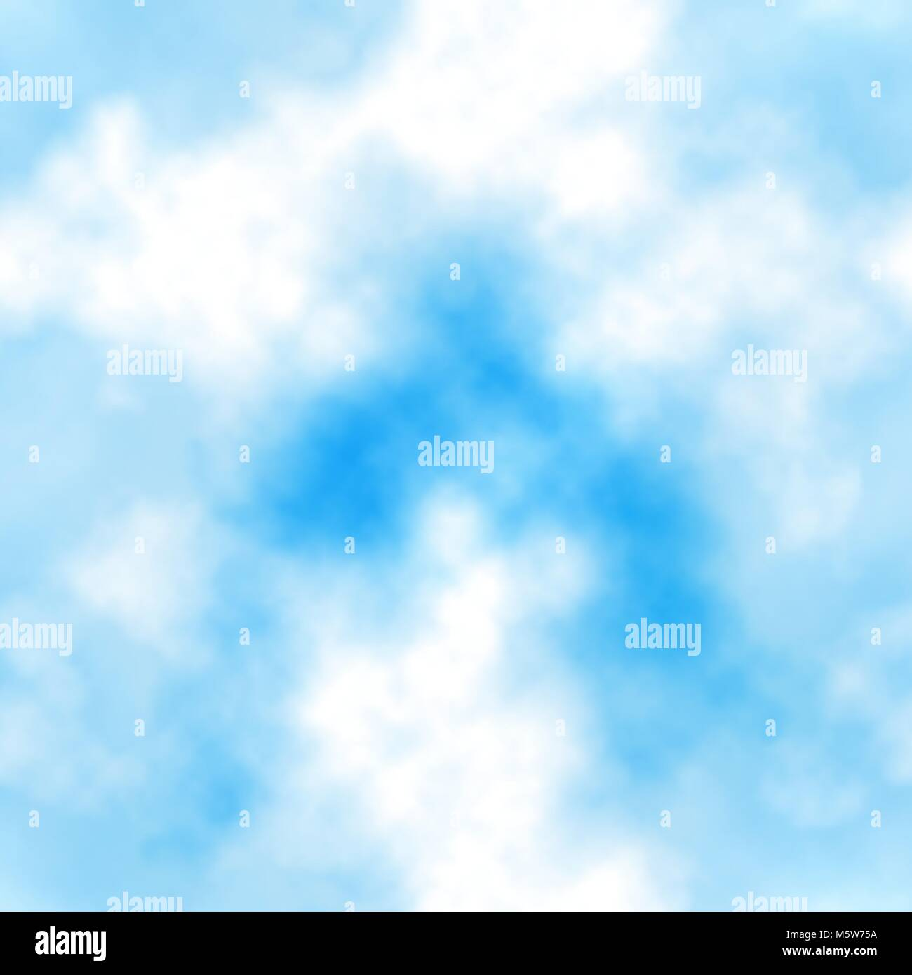 Seamless vector tile of white clouds in a blue sky made using a gradient mesh - Stock Image