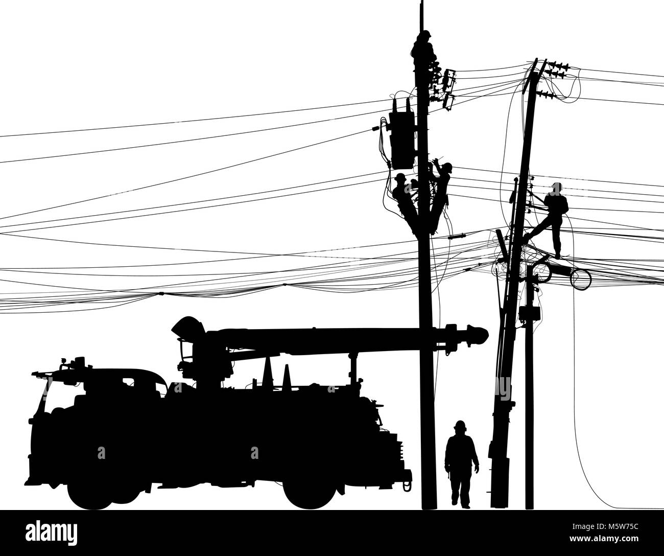 Editable vector silhouette of repairmen performing mainenance on electricity poles and cables with truck as a separate Stock Vector