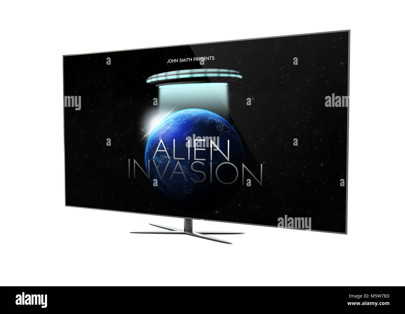 render of a modern television with sci-fi movie. 3d rendering. - Stock Image