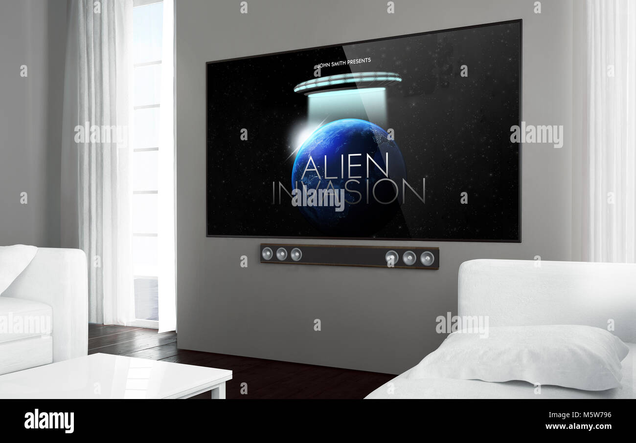 Big screen smart tv at living room with sci-fi movie on screen. 3d rendering. - Stock Image
