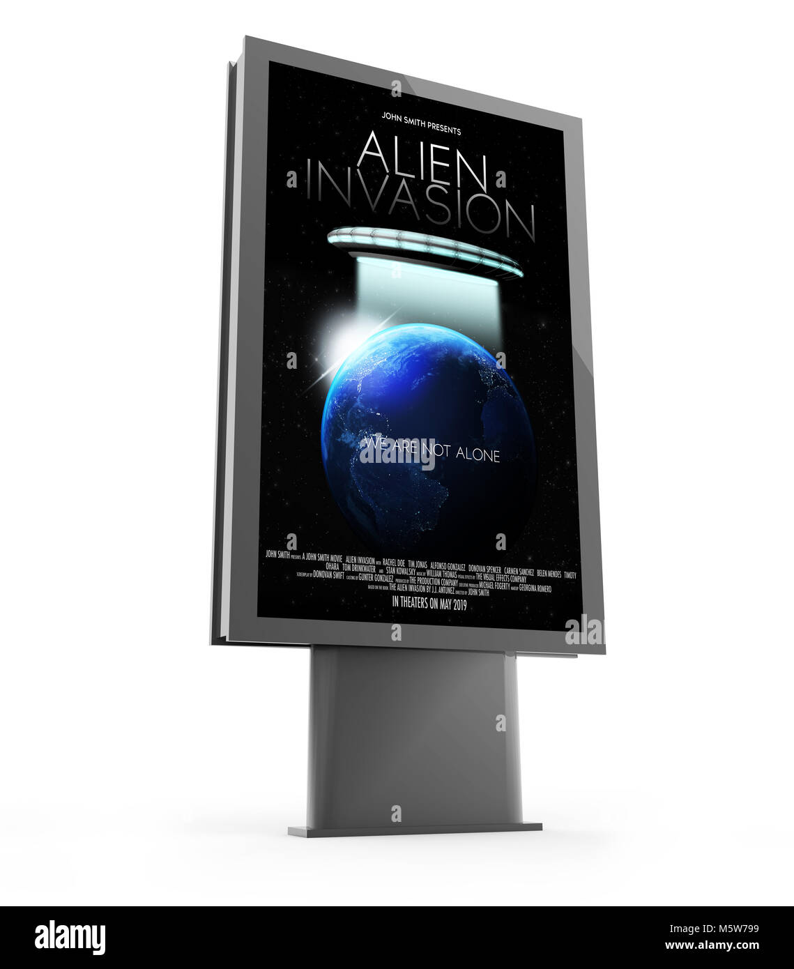 3d rendering of a movie poster street marketing billboard - Stock Image