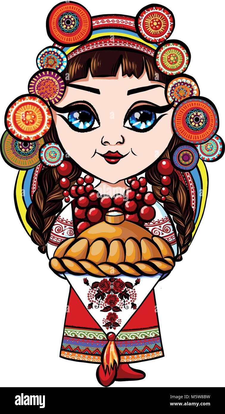 ukraine girl folk ornament, perfect logo, decor design on Cup, clothes floral design, print for handbag t-shirt Stock Vector