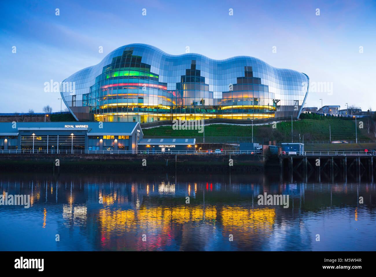 Sage Gateshead building, view at dusk of the Sage Gateshead building along the River Tyne in the centre of Newcastle, - Stock Image