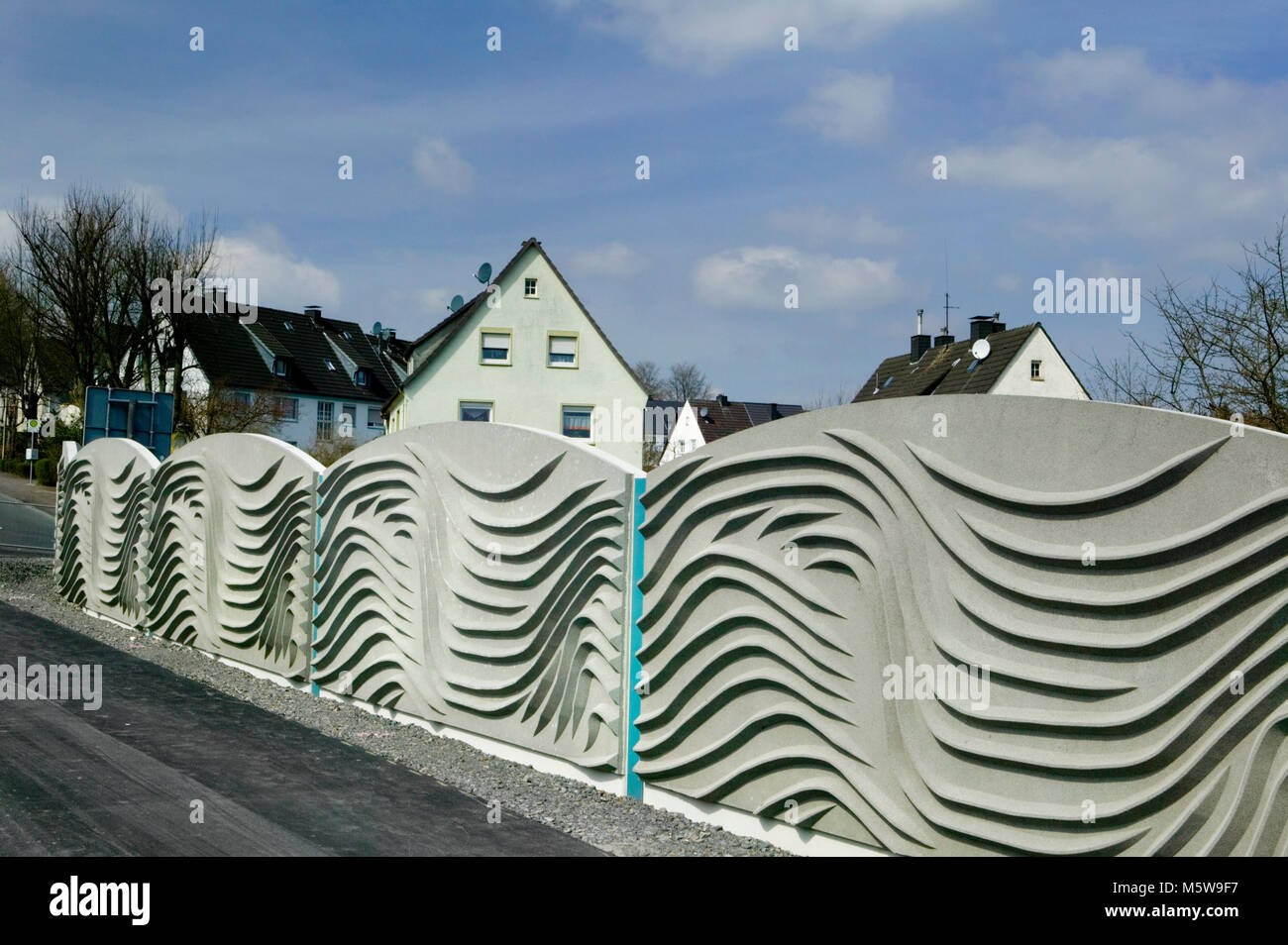 A noise barrier at Meinerzhagen, North Rhine-Westphalia, Germany, Europe - Stock Image