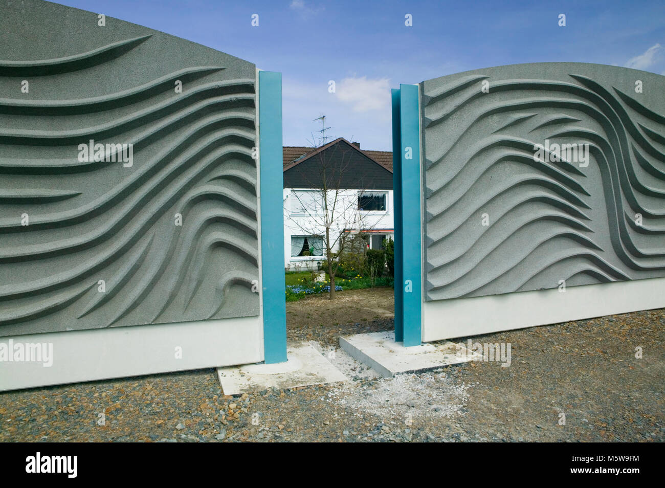 A noise barrier at Meinerzhagen, North Rhine-Westphalia, Germany, Europe - Stock Image