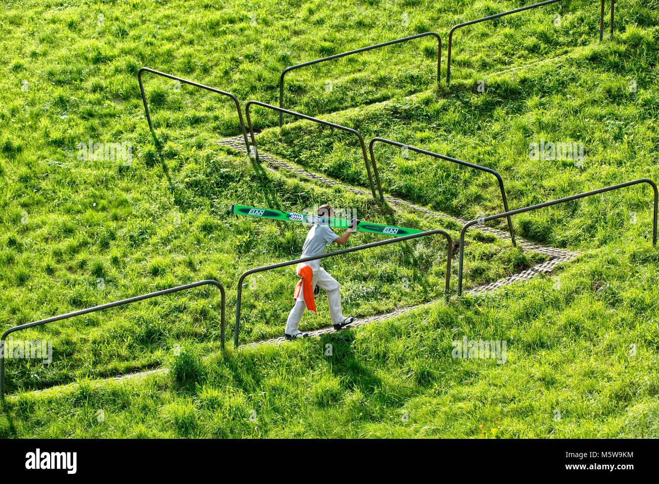 Ski jumper in summer, Meinhardus Jump, Meinerzhagen, North Rhine-Westphalia, Germany, Europe - Stock Image