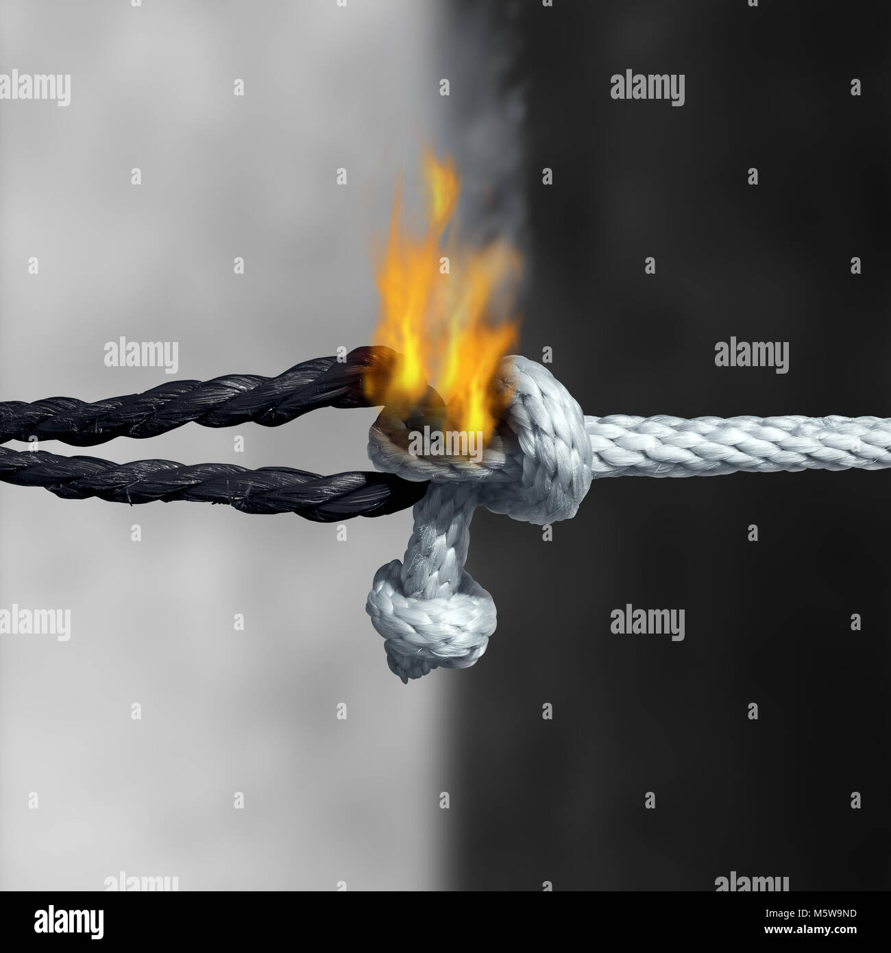 Racial unity problem concept as a symbol of racism as a white and black rope tied together and burning with flames - Stock Image