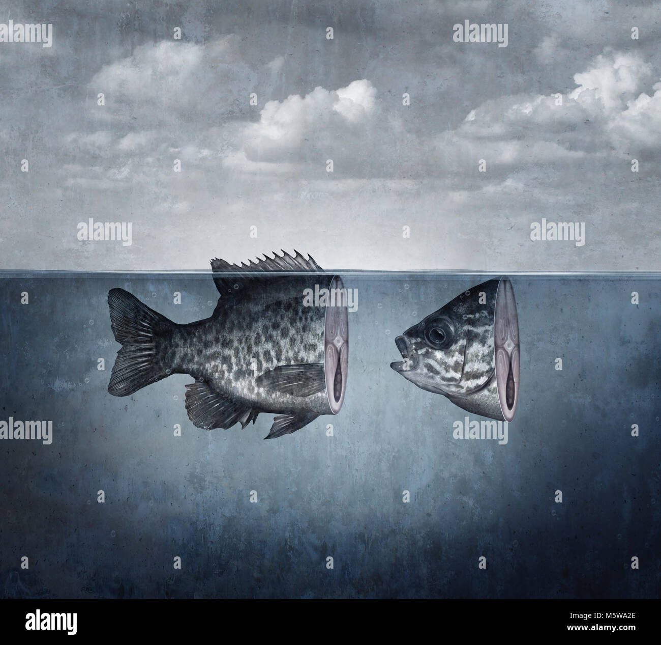 Surreal fish art concept cut into two pieces as an abstract idea for disunity and split symbol in a 3D illustration - Stock Image