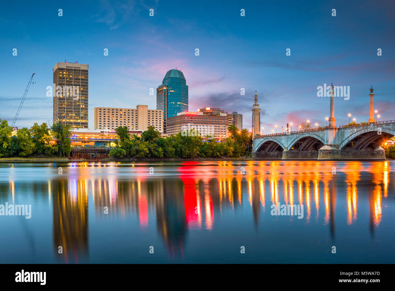 Springfield, Massachussetts, USA downtown skyline on the river. - Stock Image