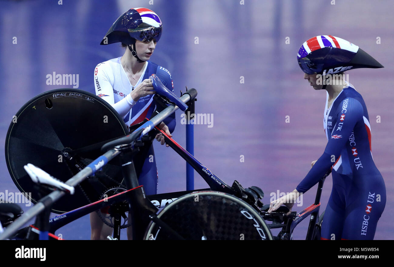Laura Kenny (left) during a training session at the HSBC