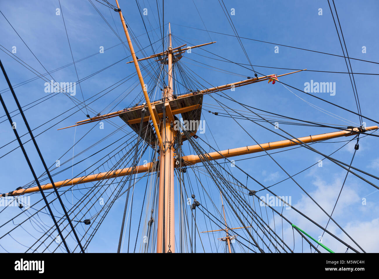 Rigging and mast seen from upper deck of HMS Warrior – first of the Iron Clad class of ship. Portsmouth Historic Stock Photo
