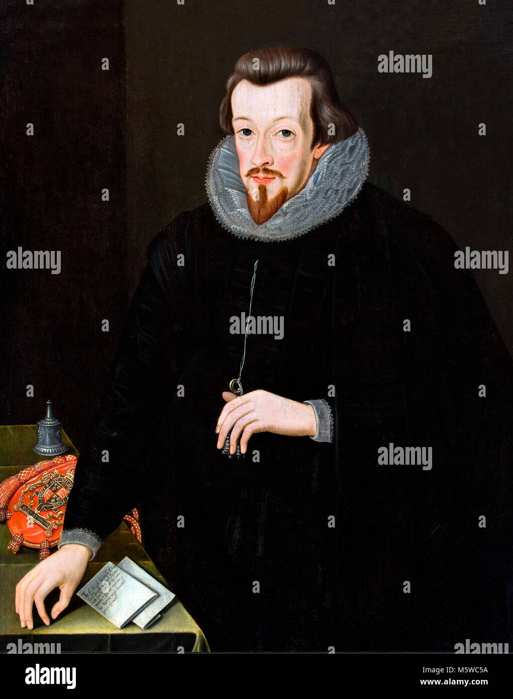 Robert Cecil, 1st Earl of Salisbury (1563-1612) attributed to John Critz the Elder, oil on panel, 1599. - Stock Image
