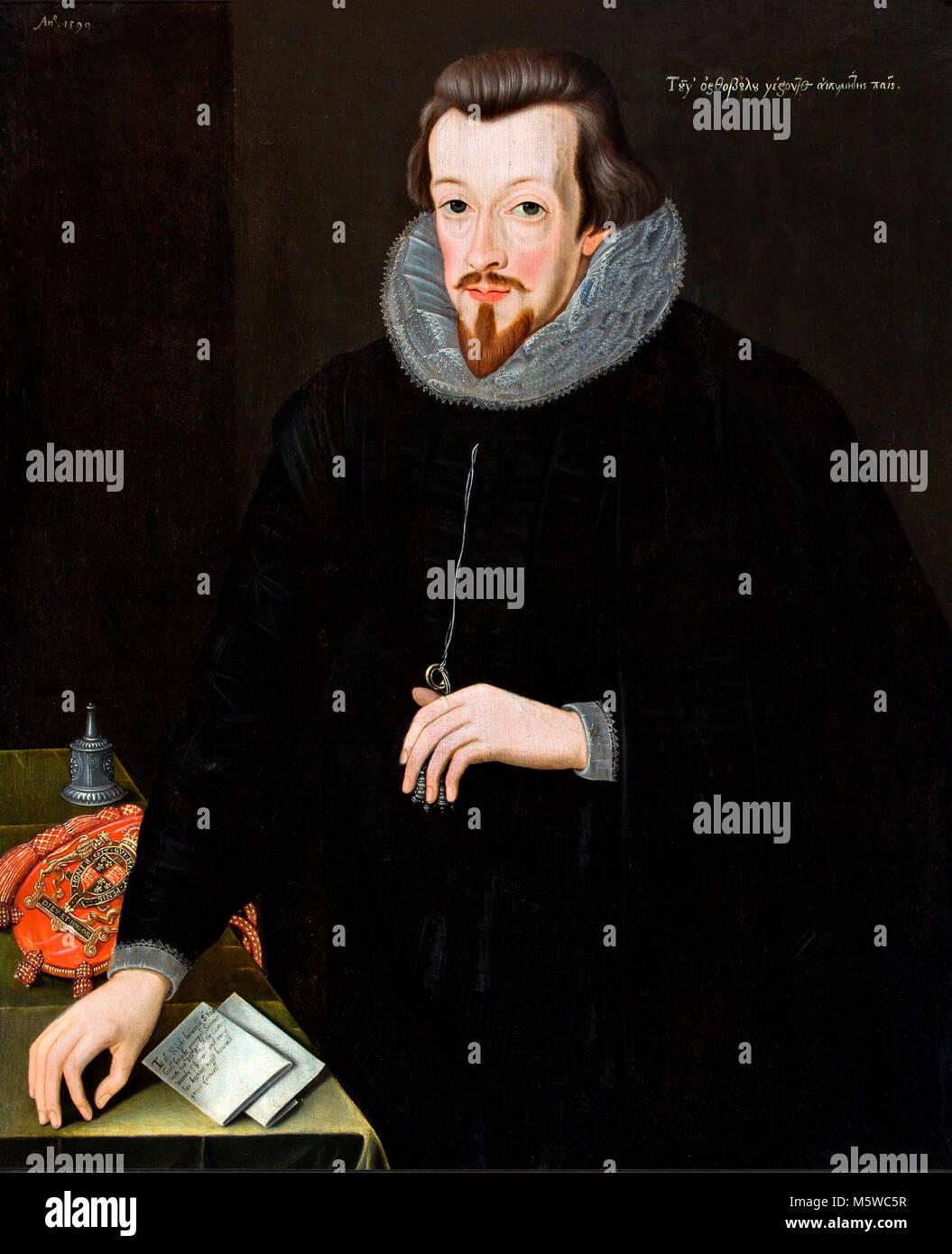 Robert Cecil, 1st Earl of Salisbury (1563-1612) attributed to John Critz the Elder, oil on panel, 1599.  Robert - Stock Image