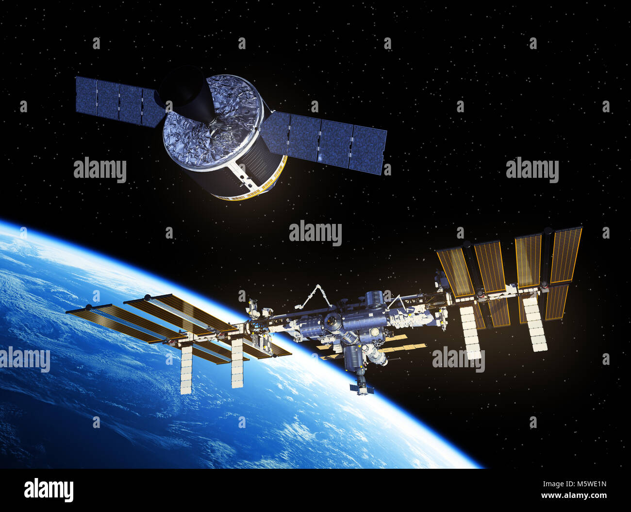 Cargo Spaceship Is Preparing To Dock With International Space Station - Stock Image