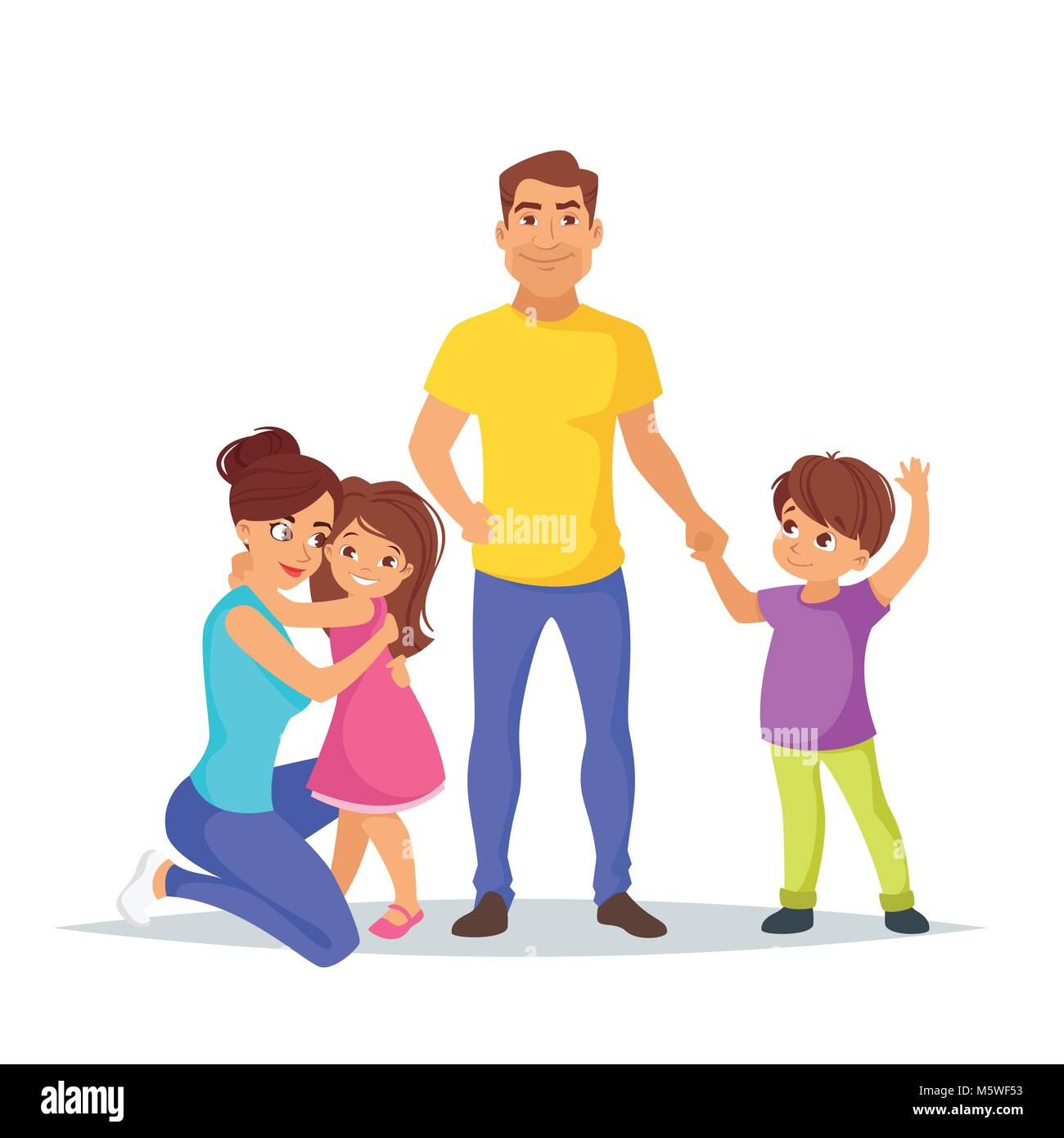 Vector cartoon style illustration of happy Caucasian family members: dad, mother, son. Isolated on white background. - Stock Vector