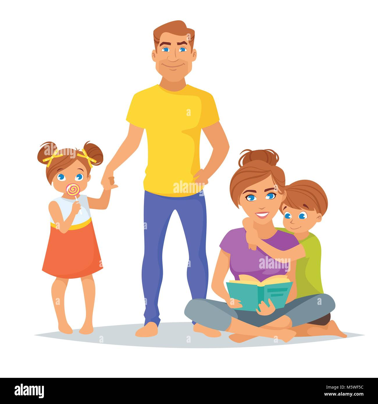 Vector cartoon style illustration of Caucasian family members, parents and their children isolated on white background. - Stock Vector