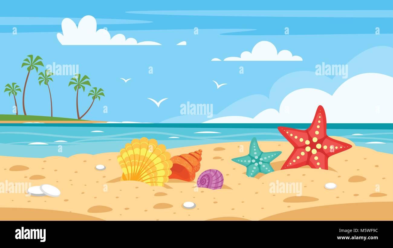 Vector cartoon style background of sea shore with colorful seashells stock vector art - Fotos fondo del mar ...