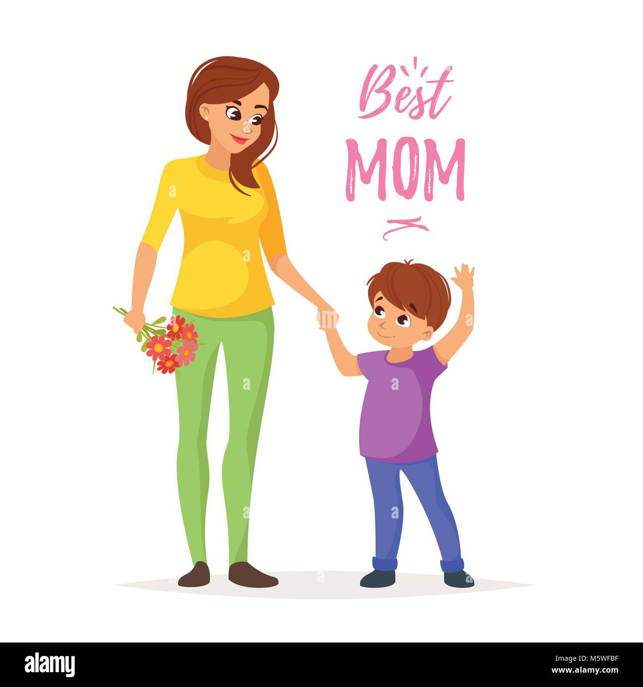 Vector Cartoon Style Illustration Of Happy Mother Holding Flowers With Son Mothers Day Greeting Card Template On White Background Best Mom Text