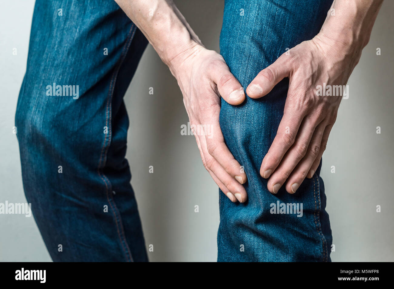 Pain in the knee, meniscus. - Stock Image
