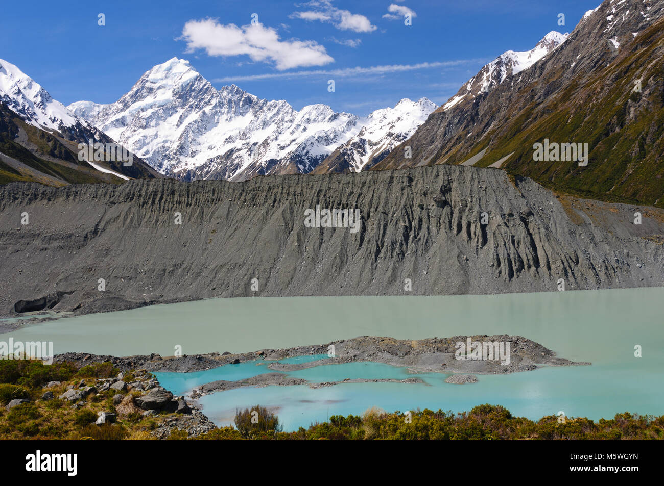 Mueller Lake below Mt Cook in New Zealand - Stock Image