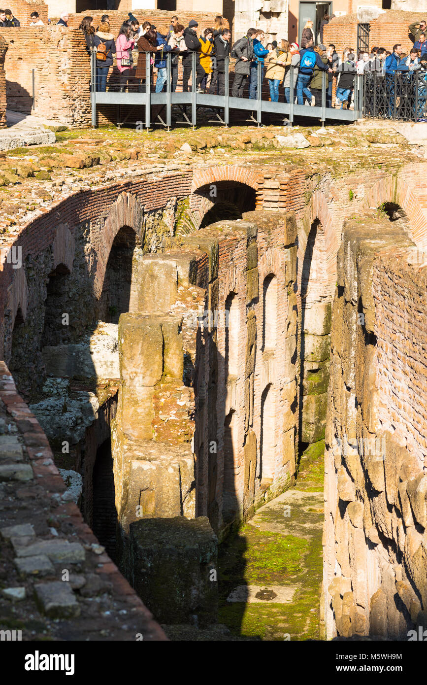 Interior closeup detail of he Colosseum or Coliseum, also known as the Flavian Amphitheatre, with the below ground - Stock Image