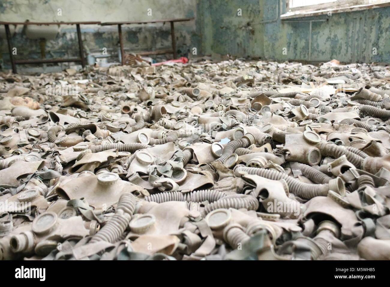 gasmask depot in pripyat - Stock Image