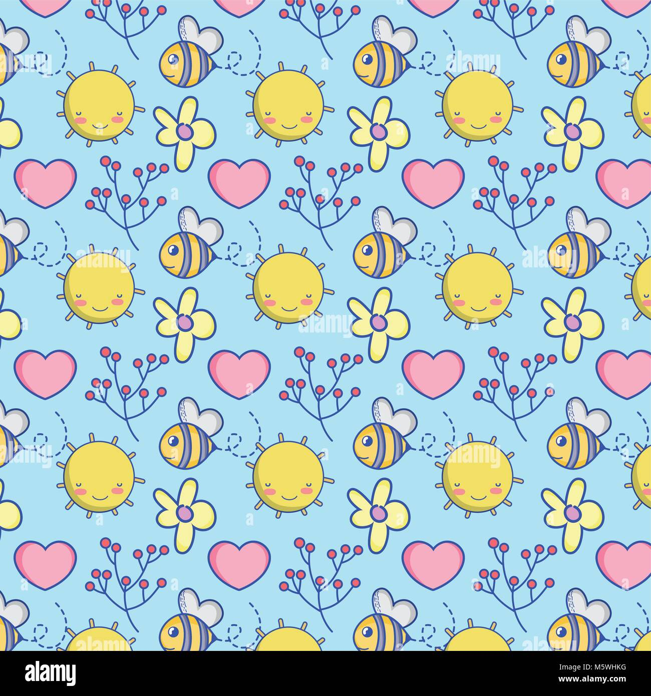 Cute Bee And Nature Pattern Background Vector Illustration Graphic
