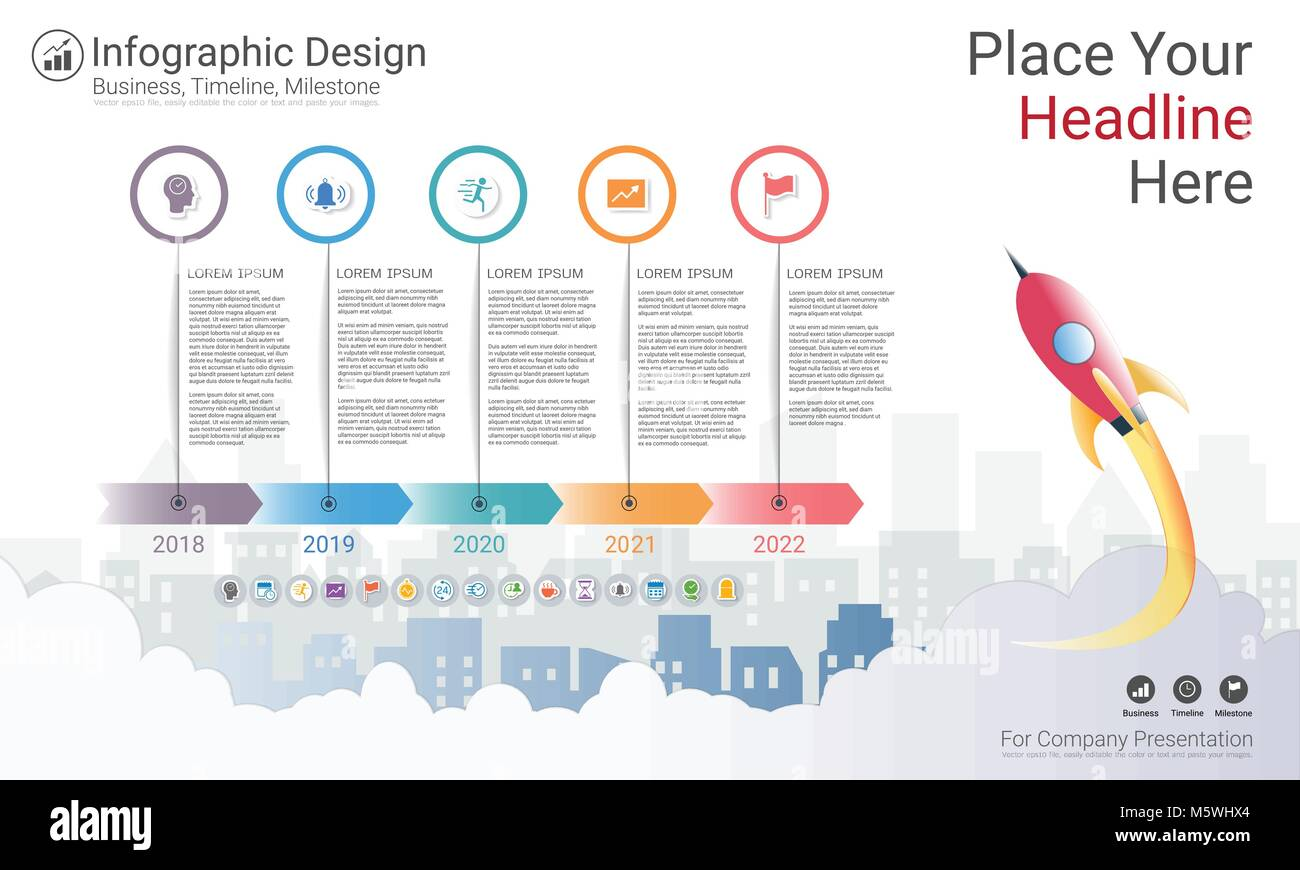 Milestone timeline infographic design, Road map or strategic plan to on