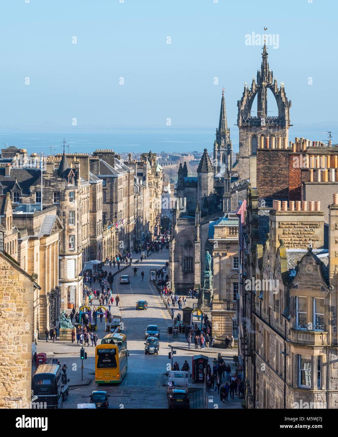 View down historic Royal Mile in Edinburgh Old Town, Scotland, United Kingdom - Stock Image