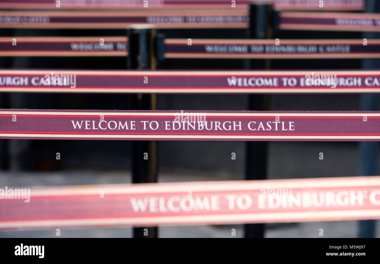 Detail of queue  separation barriers at ticket office in Edinburgh Castle, Scotland, UK. Overcrowding is a problem - Stock Image