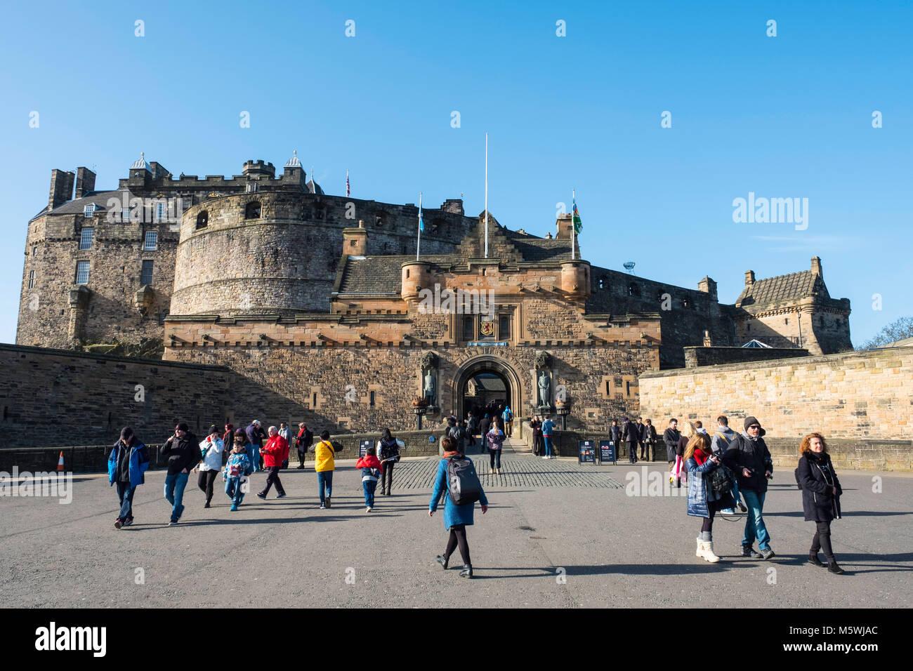 View of entrance to Edinburgh Castle on esplanade in Edinburgh, Scotland, United Kingdom - Stock Image