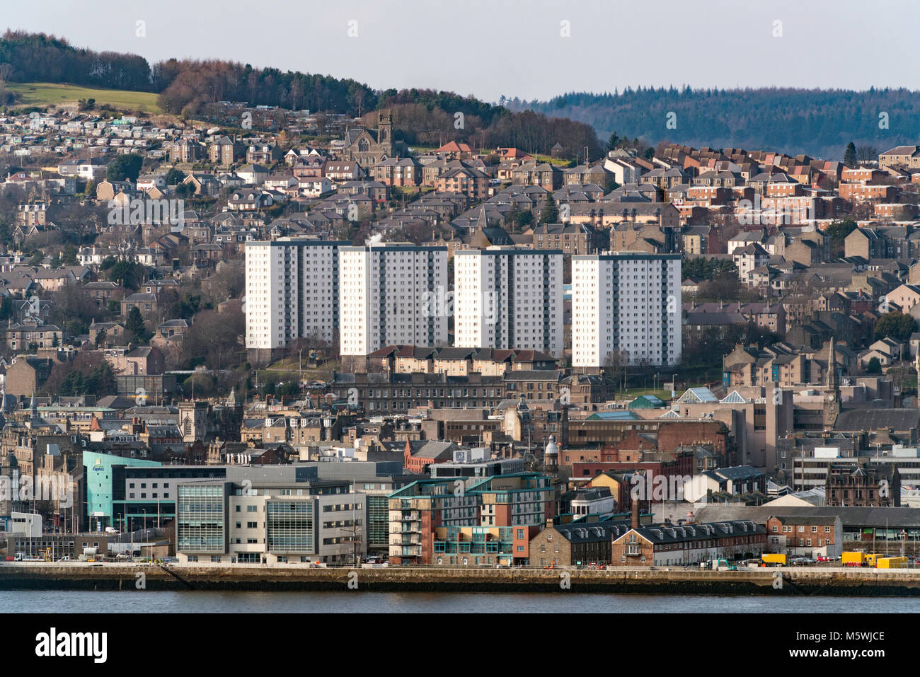 View over city of Dundee in Tayside, Scotland, United Kingdom - Stock Image