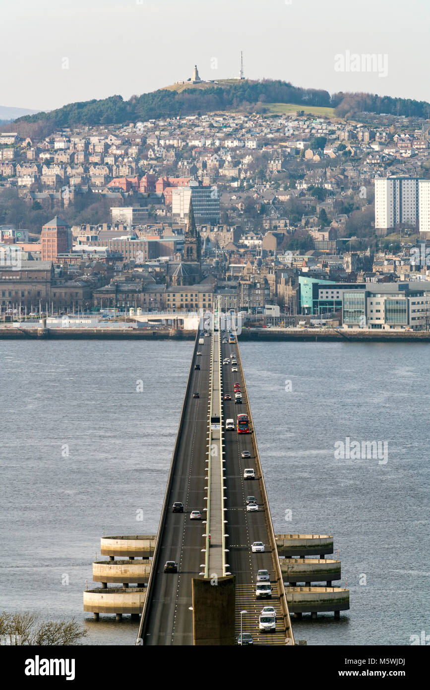 View over city of Dundee from the Tay Road Bridge in Tayside, Scotland, United Kingdom - Stock Image