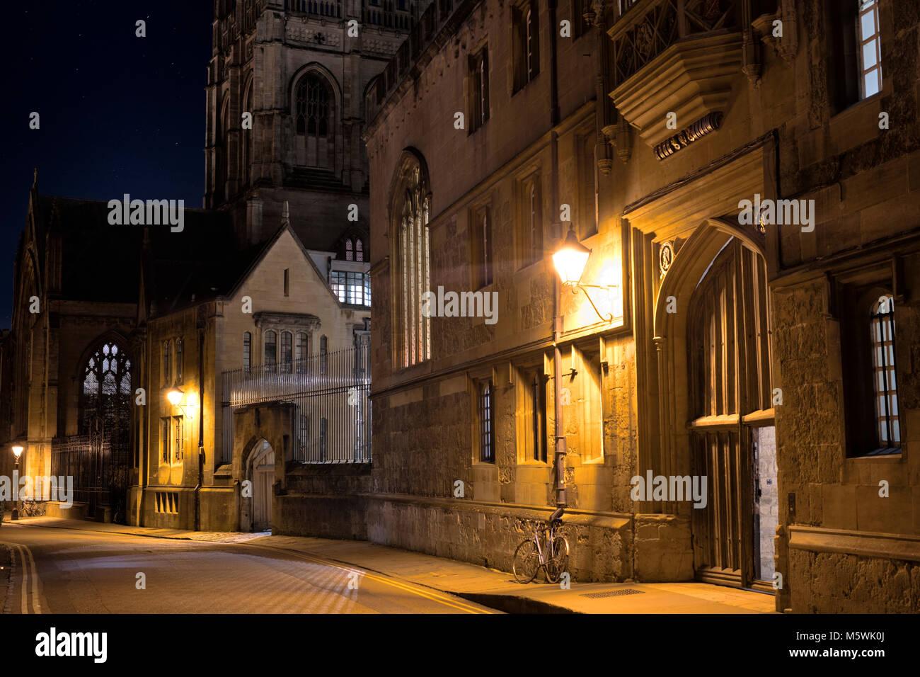 Corpus Christi college in Merton street at night. Oxford, Oxfordshire, England - Stock Image