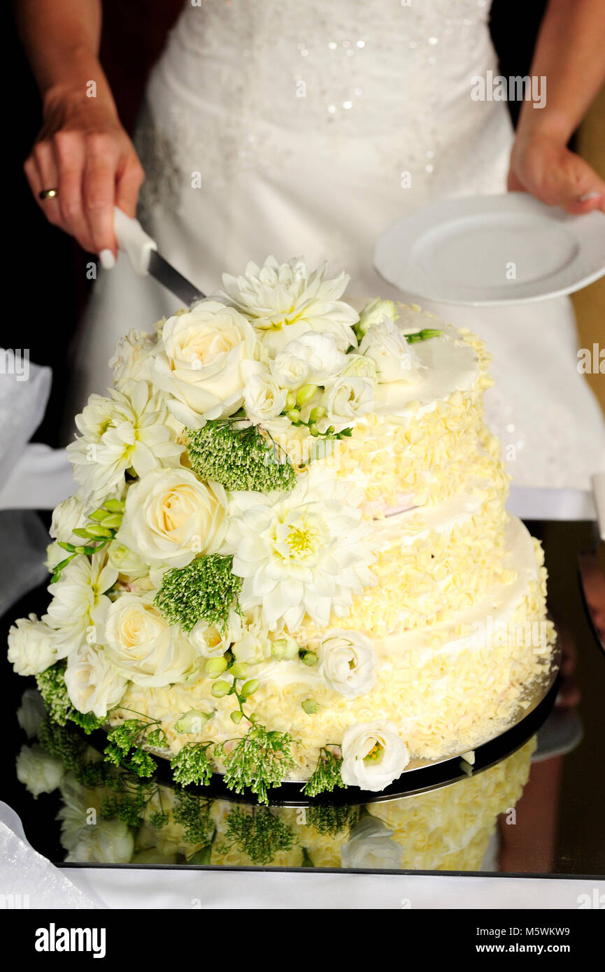 bride, cake, ceremony, cutting, event, wedding, apparel,party, man, women, couple, relation, sweet cake, - Stock Image