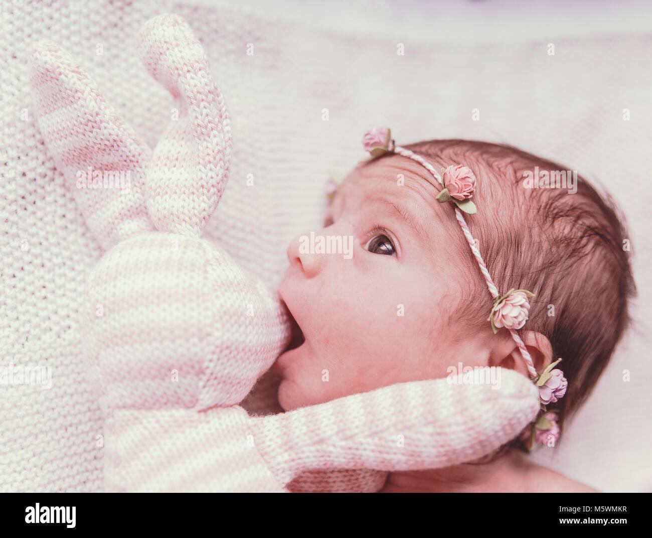 Eva Ozkoidi_bunny and girl II - Stock Image