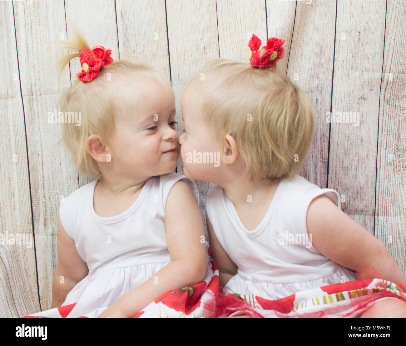 cute babies twins girls stock photo: 175742858 - alamy